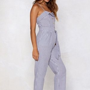 NWT Can't Say No to Your Stripe Jumpsuit
